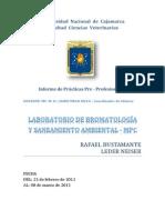 Prácticas Pre-Profesionales – LABORATORIO DE BROMATOLOGÍA Y SANEAMIENTO AMBIENTAL