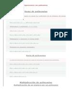 Operaciones Con Polinomios Matematica