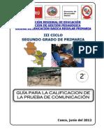 01 Guía de calificación  de la Prueba de comunicación Primaria 2do grado