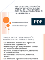 DIMENCIONES DE LA ORGANIZACIÓN (CONTEXTUALES Y ESTRUCTURALES