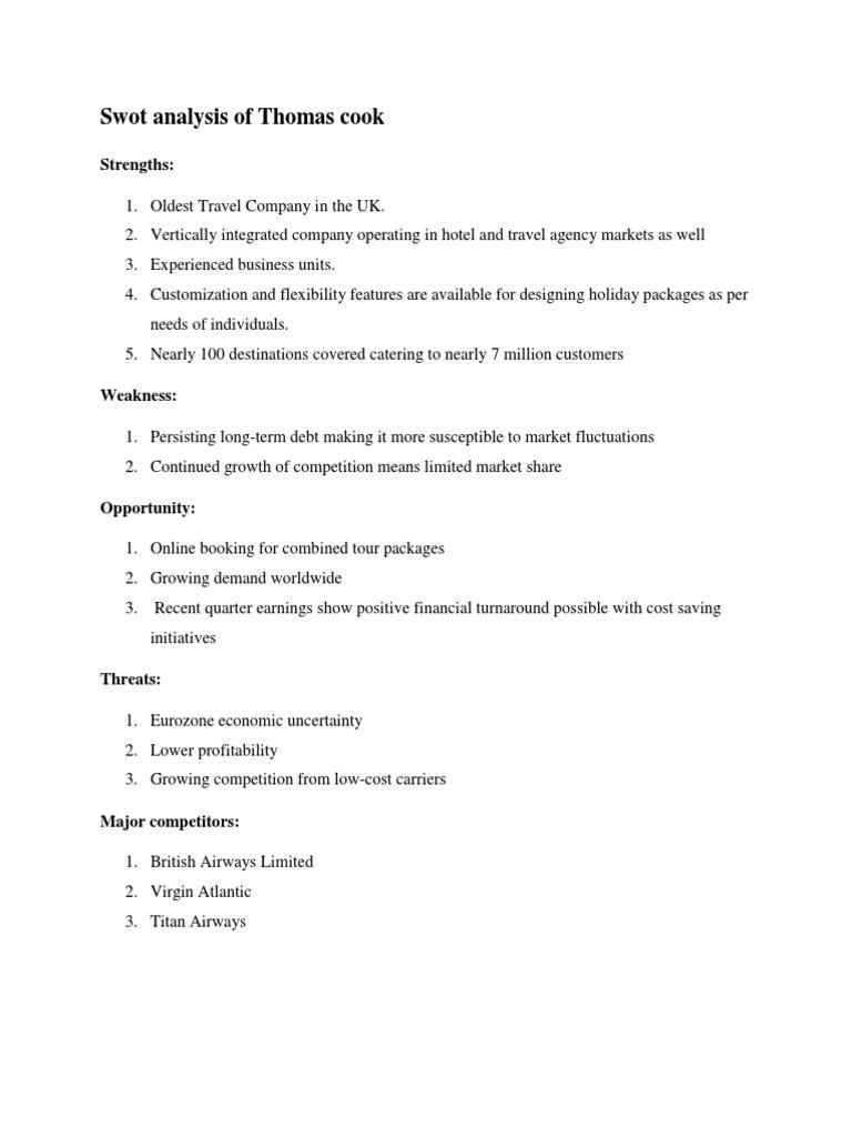swot analysis of thomas cook india ltd