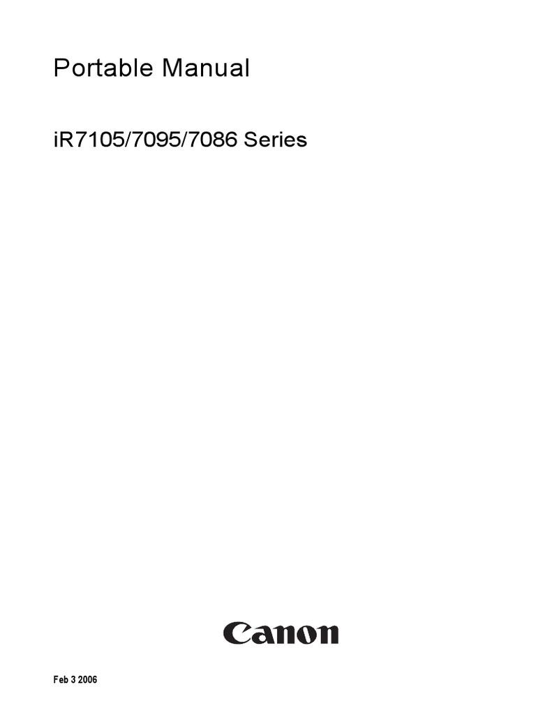 CANON ImageRUNNER iR7086, iR7095, iR7105 Series Portable Manual | Signal  (Electrical Engineering) | Image Scanner