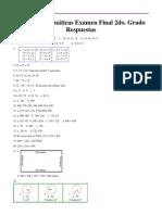 Mamut Matematicas Examen Final Grado 2 Respuestas
