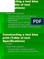 Table of Test Spesification