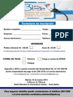 Formulario de Inscripción Foro Energía APEDE