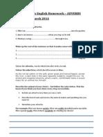 Homework Adverbs