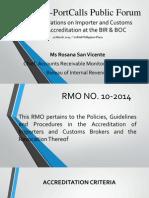 PISFA-PortCalls Public Forum Presentation on BIR RMO 10-2014