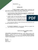 Affidavit - No Liability