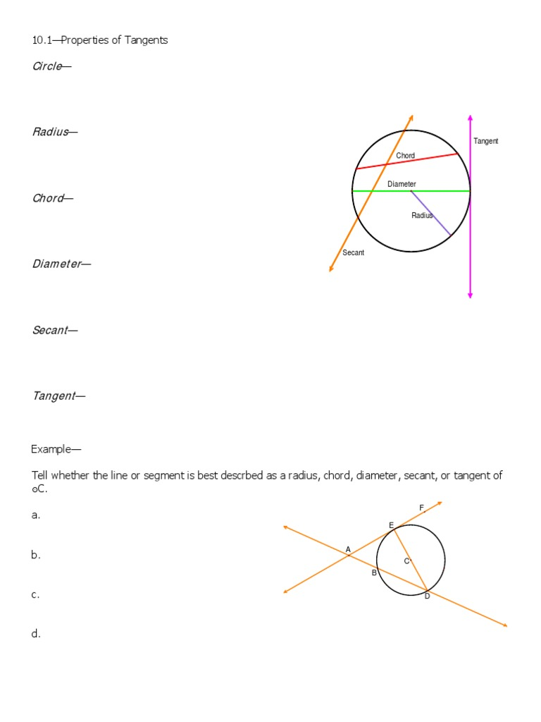 Circles Secant Tangent And Etc Circle Tangent