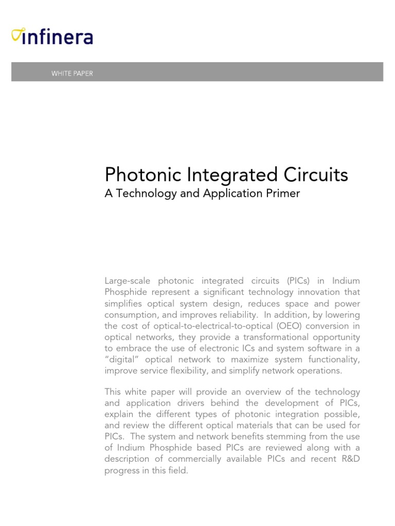 Photonic Integrated Circuits A Technology And Application Primer Uses Of Wavelength Division Multiplexing Photonics