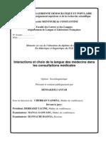 Memoire Langue Des Medecins