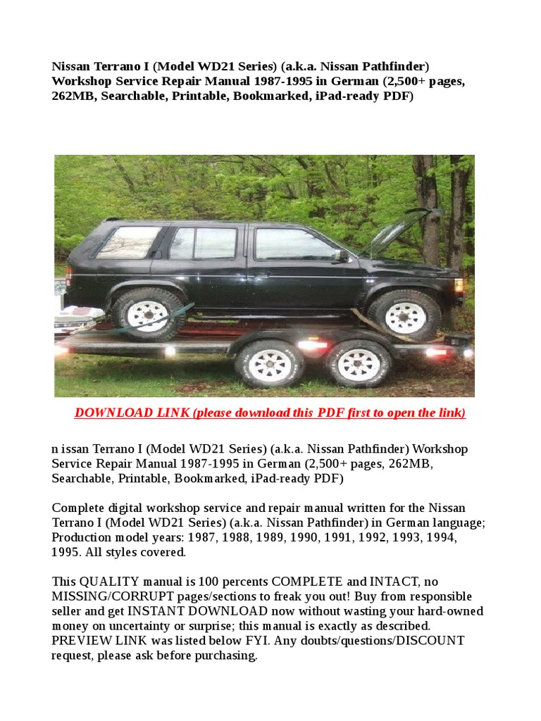 Nissan Terrano I (Model WD21 Series) (a.k.a. Nissan Pathfinder) Workshop  Service Repair Manual 1987-1995 in German (2,500+ Pages, 262MB, Searchable,  ...