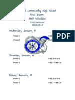 global final exam schedule 2013-14