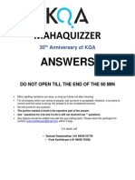 Mahaquizzer 2013 30th Anniversary Special Answers
