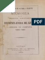 Memoria de los trabajos ejecutados por la Intendencia Jeneral del Ejército y Armada en Campaña 1880-1881. (1882)