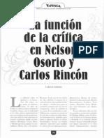 TORRES ASTOCÓNDOR, Carlos. La función de la crítica en Nelson Osorio y Carlos Rincón