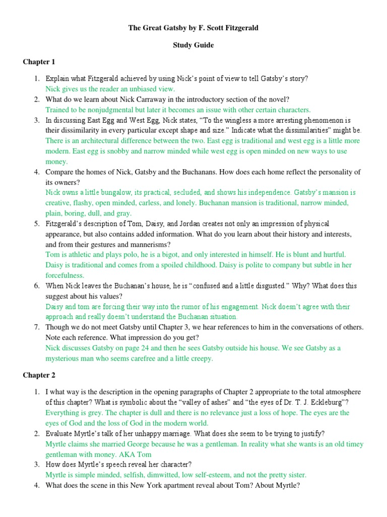 great gatsby study guide through chapter As you take this quiz, consider how the details of gatsby's background divulged by nick in this chapter differ from what gatsby shared with nick earlier in the novel gatsby's parties continue, but now are seen through the lens of tom and daisy's impressions, which may change how the reader .