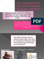 The Variables That Influence the Foreign Language Learning