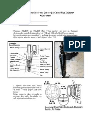 Celect Injector Adjustment 01-05