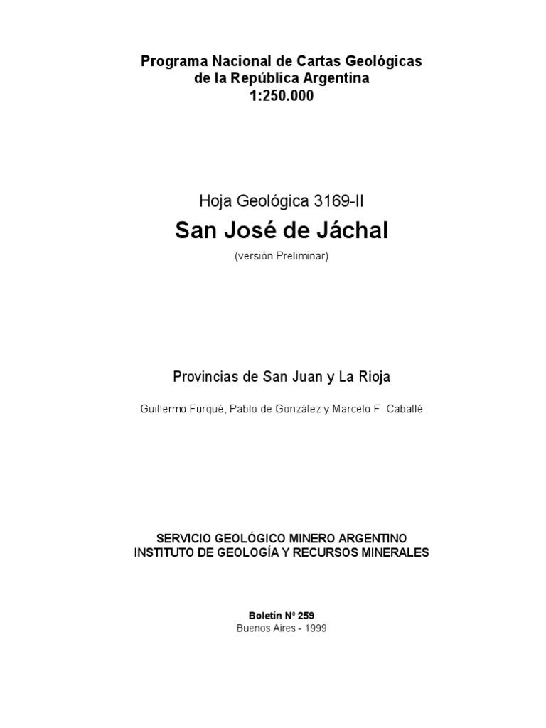 Hoja geologica de Jachal Preliminar