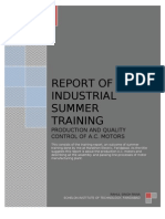 Project Report of Industrial Summer Training