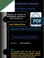 Auditoria de Ingresos segun NIIF para PYME (Papeles de Trabajo)