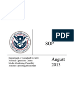 DHS Media Monitoring Standard Operating Procedures (August 2013)