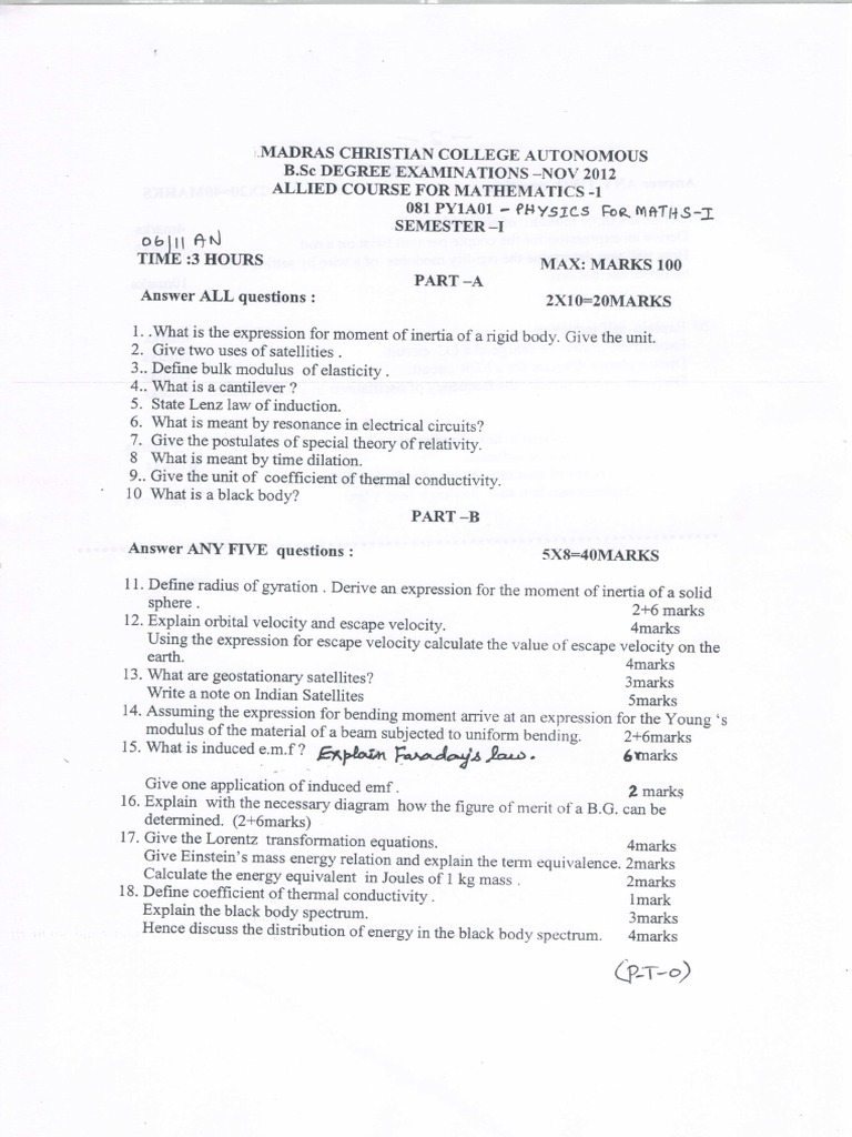 Madras Christian College, UG Physics Question Papers