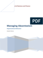 01 OB Managing Absenteeism