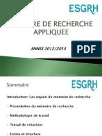 Methodologie Du Memoire de Recherche Appliquee