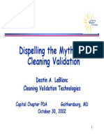 Dispelling Myths of Cleaning Validation
