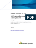 Microsoft Dynamics AX 2009 BOM Calculation Using Costing Sheet
