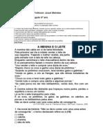 Colégio Estadual Professor Josué Meireles Prova 1º Bimestre Portugues
