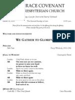 Worship Bulletin March 16, 2014