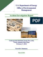 Executive Summary WIPP Underground Fire Report 03 12 2014