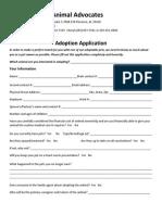 SAA Adoption Application