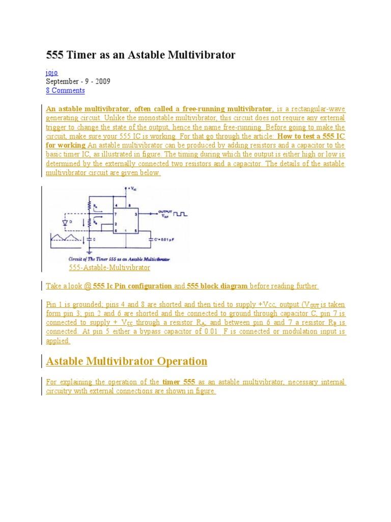 555 Timer As An Astable Multivibrator Electronic Design Electronics Circuit Diagram