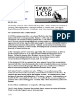 Press Release - Saving UCSB - Senate Resolution