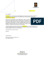 MBA Project Letter