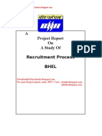 Recruitment Process at BHEL - project Report