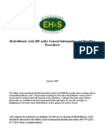 Hydrofluoric Acid General Information and Handling Procedures