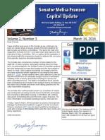 Senator Melisa Franzen's Capitol Update Volume 2, Number 3