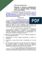 QUALIFICAÇÃO PROFISSIONAL DECRETO Nº 8.579 DE 04 DE JULHO DE 2003