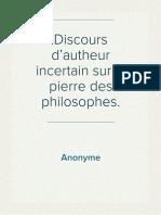 Anonyme - Discours d'autheur incertain sur la pierre des philosophes