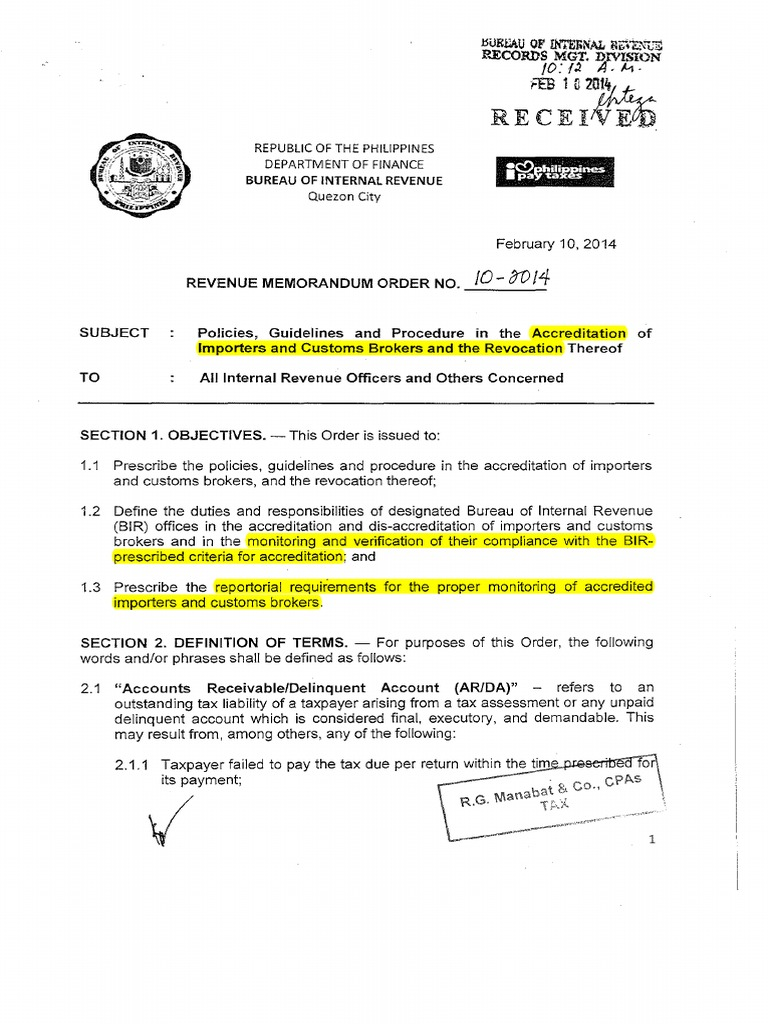 RMO_2014-10_AccreditationofImportersandCustomsBrokers(2 ... on