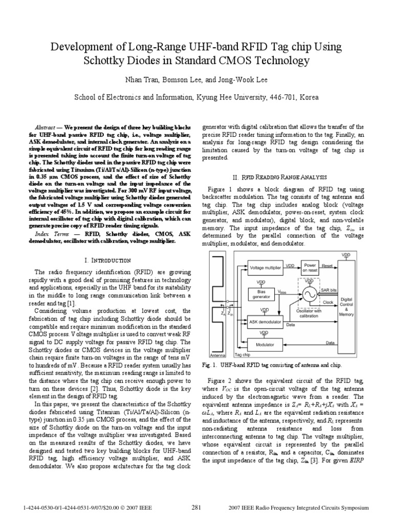 Development Of Long Range Uhf Band Rfid Tag Chip Using Schottky Block Diagram A Diodes In Standard Cmos Technology Antenna Radio Diode