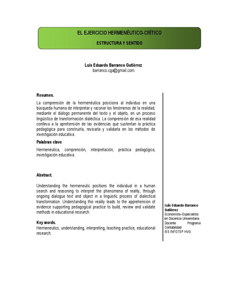 EL EJERCICIO HERMENÉUTICO-CRÍTICO