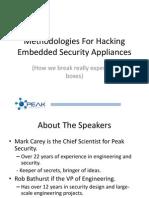 US 13 Bathurst Methodologies for Hacking Embdded Security Appliances Slides