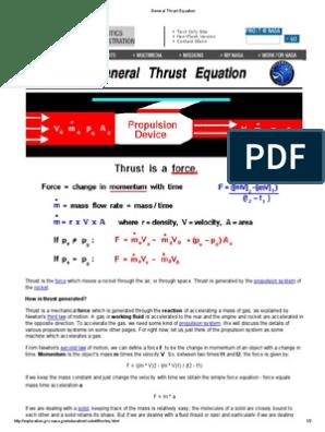 General Thrust Equation Thrust Spacecraft Propulsion