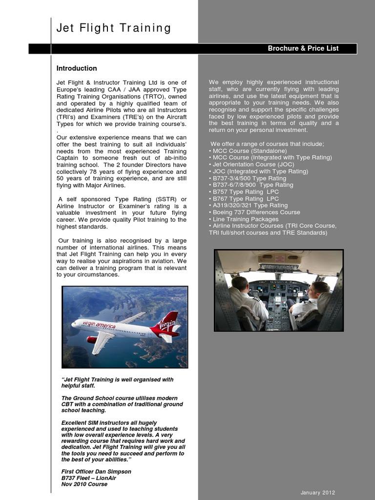 Jettraining B737NG TR Info | Flight Instructor | Pilot